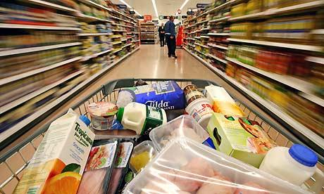 full shopping basket in a supermarket